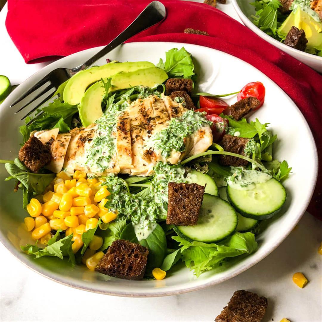 Chicken Salad with Buttermilk Green Goddess Dressing