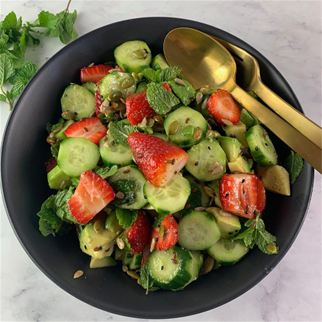 Cucumber Strawberry Salad with Crunchy Seeds & Lime