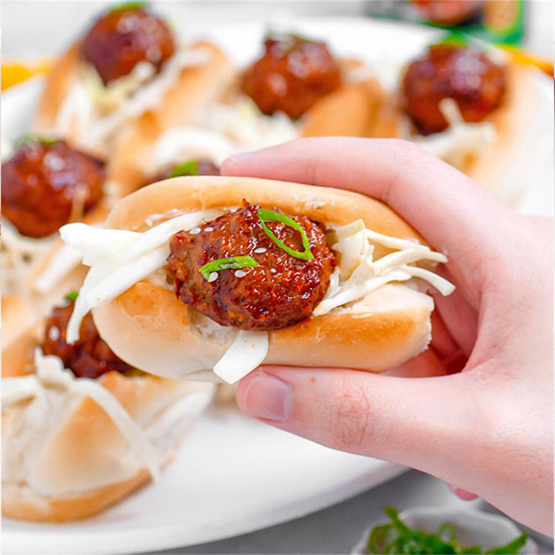 Cajun BBQ Meatball Sliders with Zesty Lime Slaw