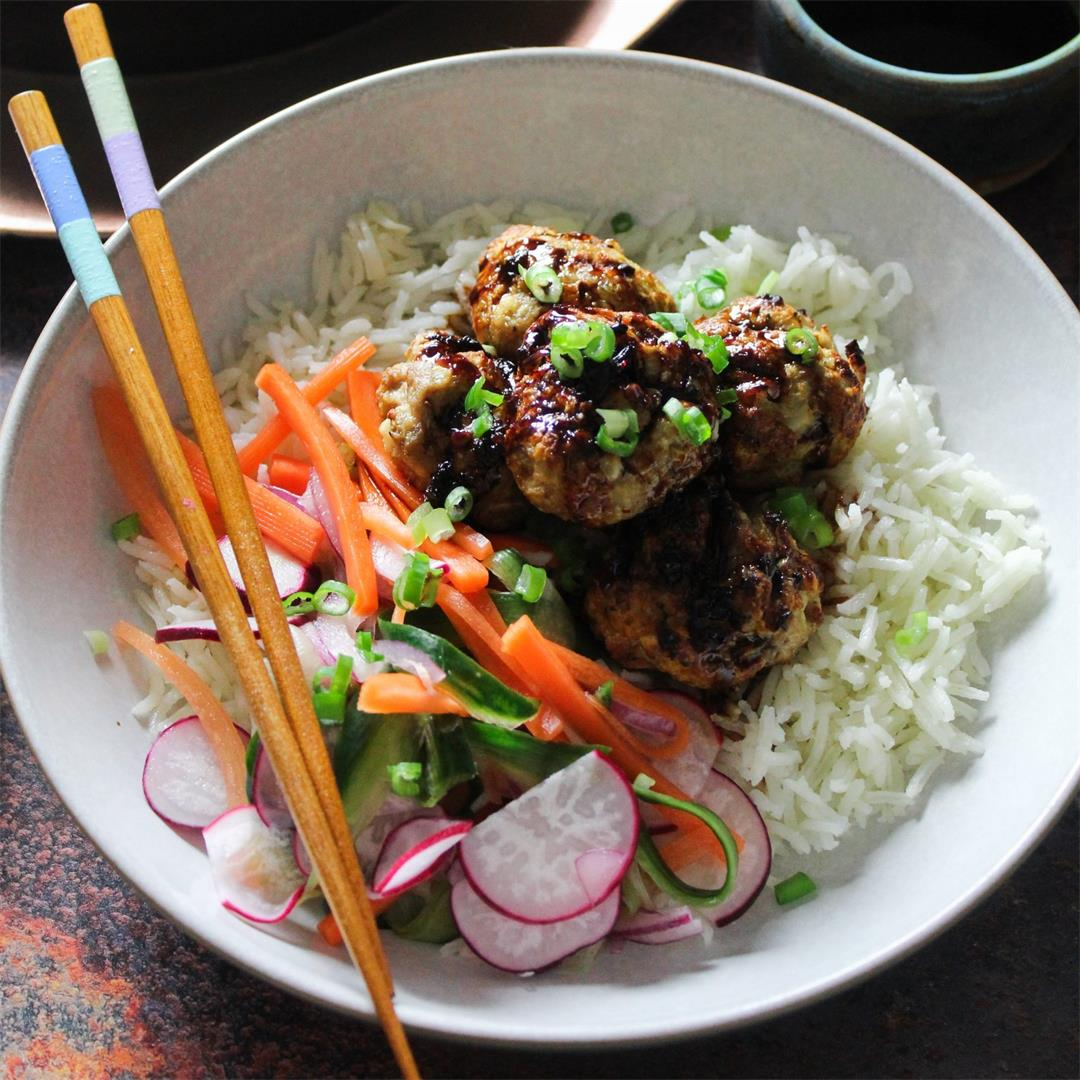 Pork Meatballs with Soy Glaze and Quick Pickled Slaw