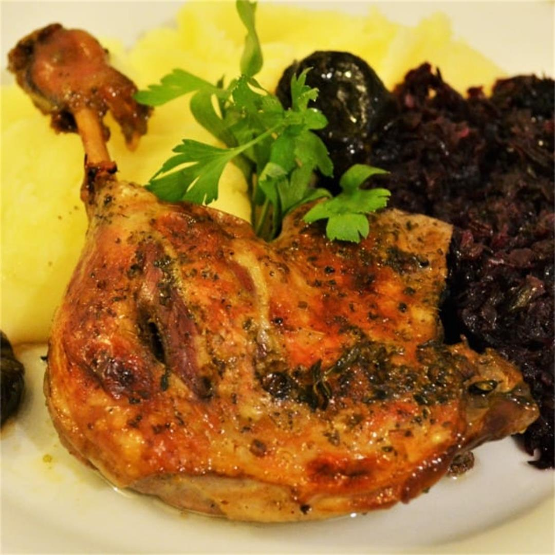 Best Braised Duck Legs Recipe-With Thyme and Dried Plums