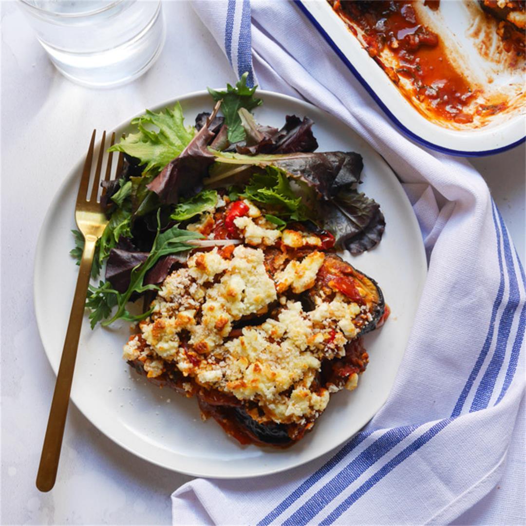 Roasted Pepper & Aubergine Bake with Feta & Harissa
