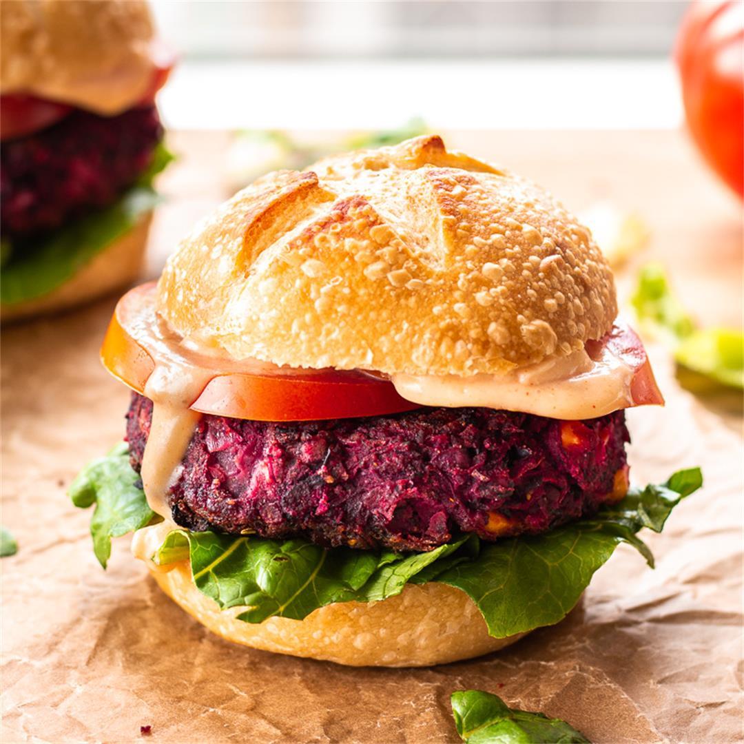 Easy Beet & Black Bean Burgers (vegan, gluten-free) -