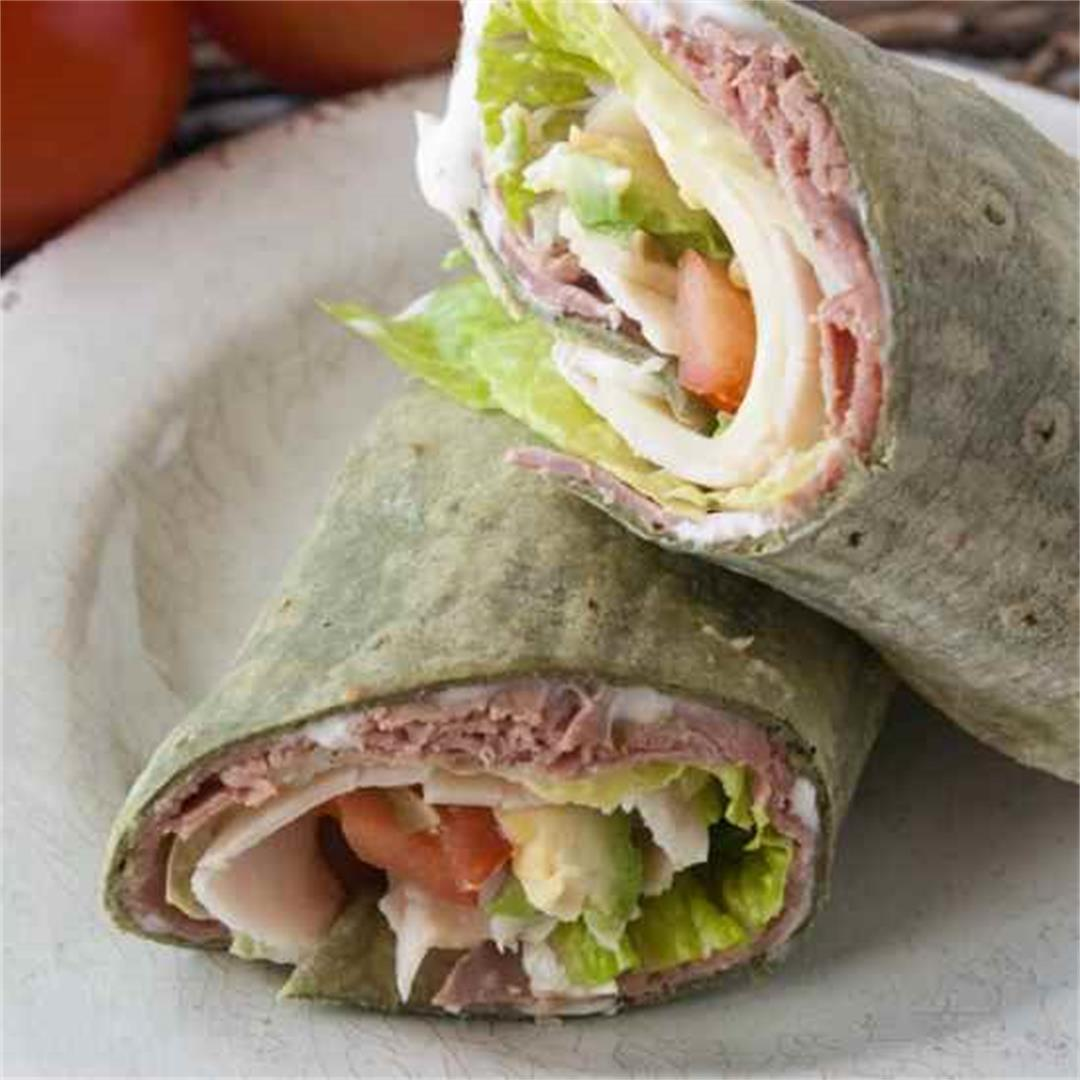Roast Beef Turkey Avocado Wraps