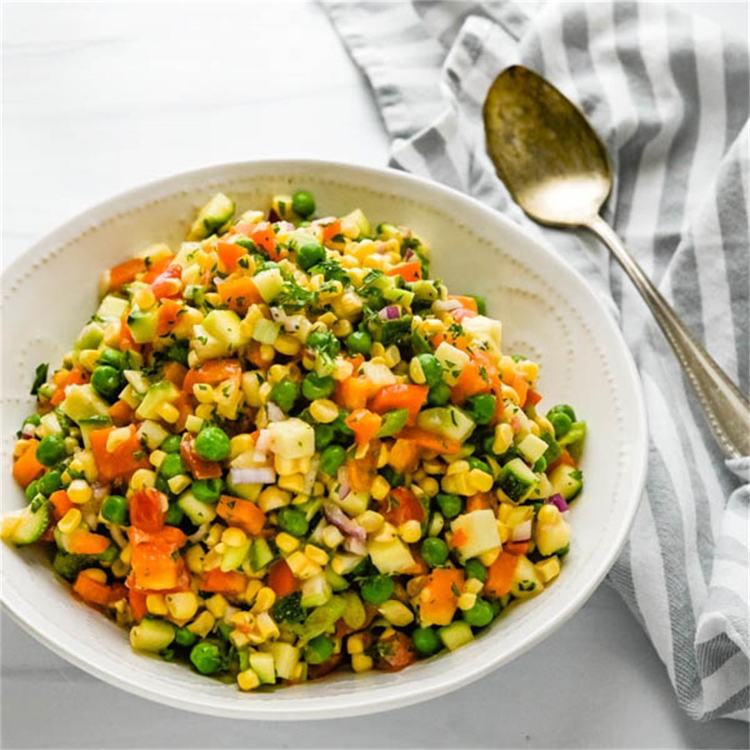 Summertime Chopped Veggie Salad with Creamy Shallot Vinaigrette