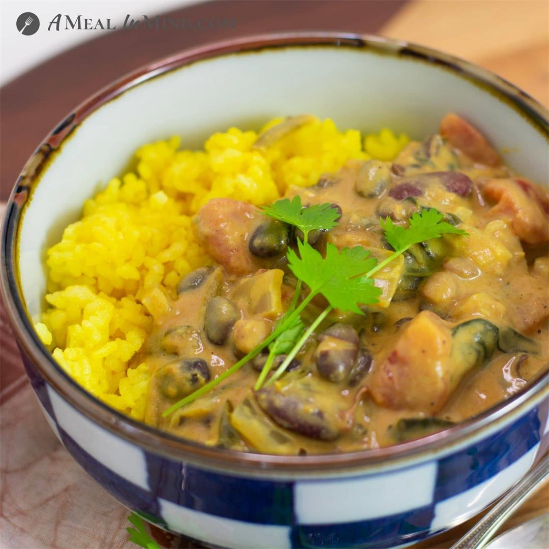 Spinach and Coconut Three-Bean Curry