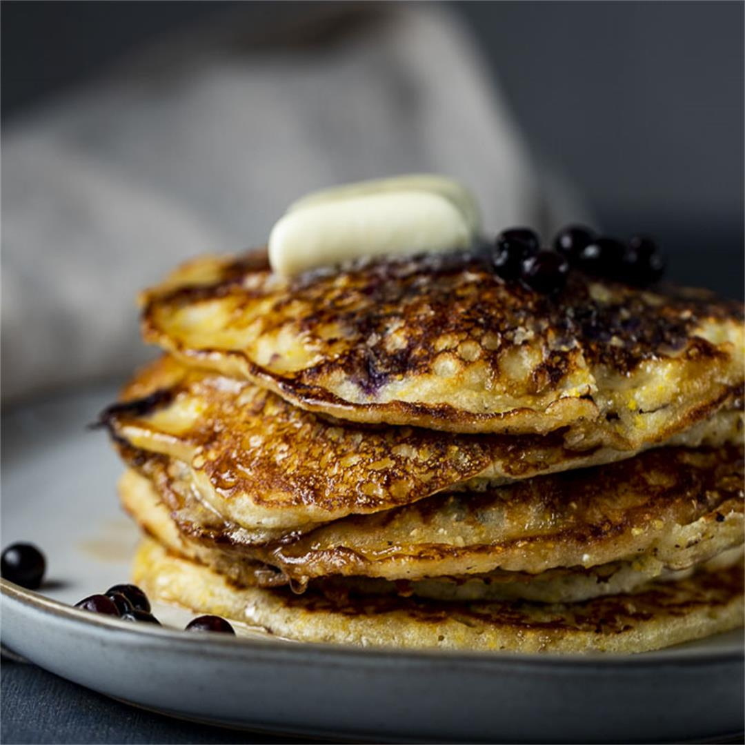 Cornmeal Blueberry Buttermilk Pancakes
