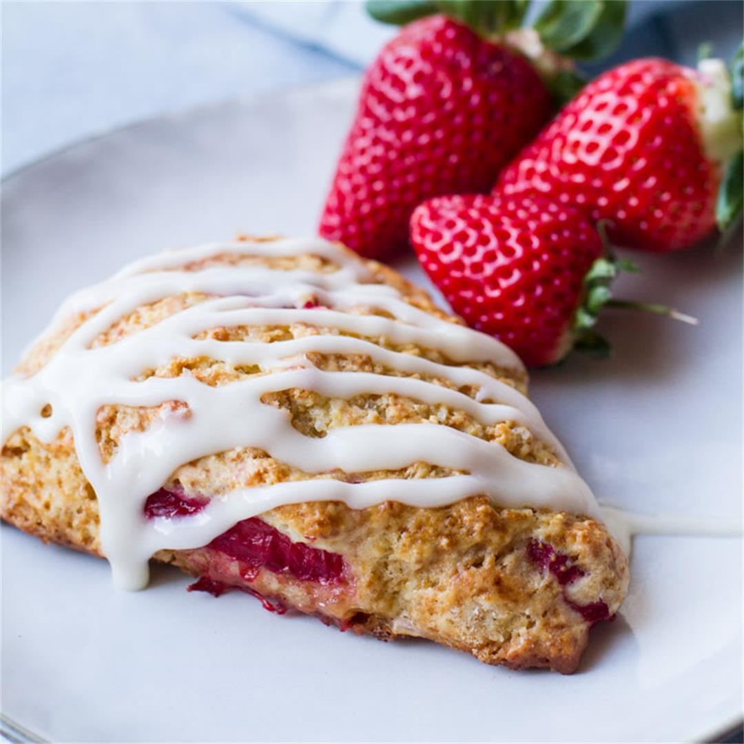 Strawberry Scones Recipe with Cream Cheese Glazing
