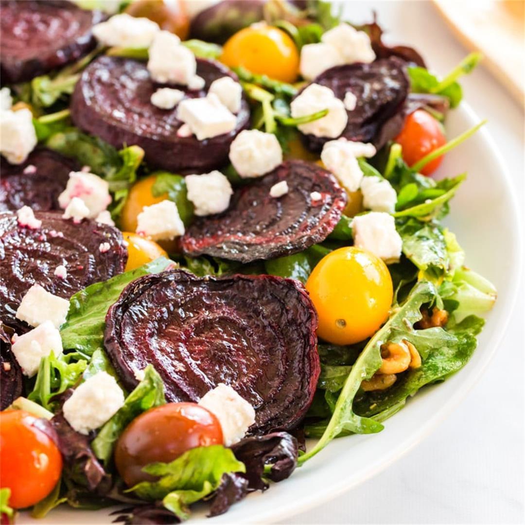 Roasted Beet Salad with Feta & Walnuts