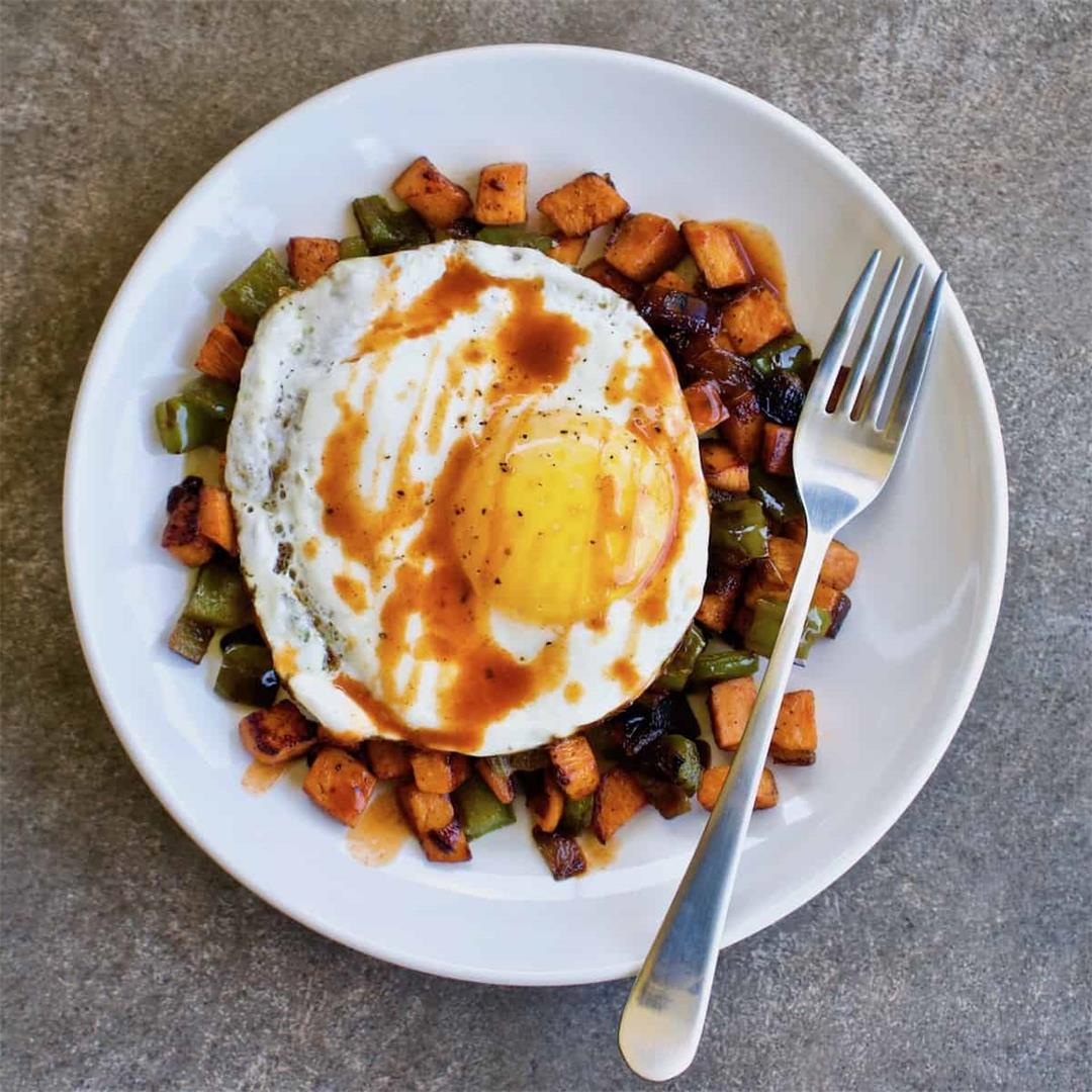 Chipotle Sweet Potato Hash with Fried Eggs