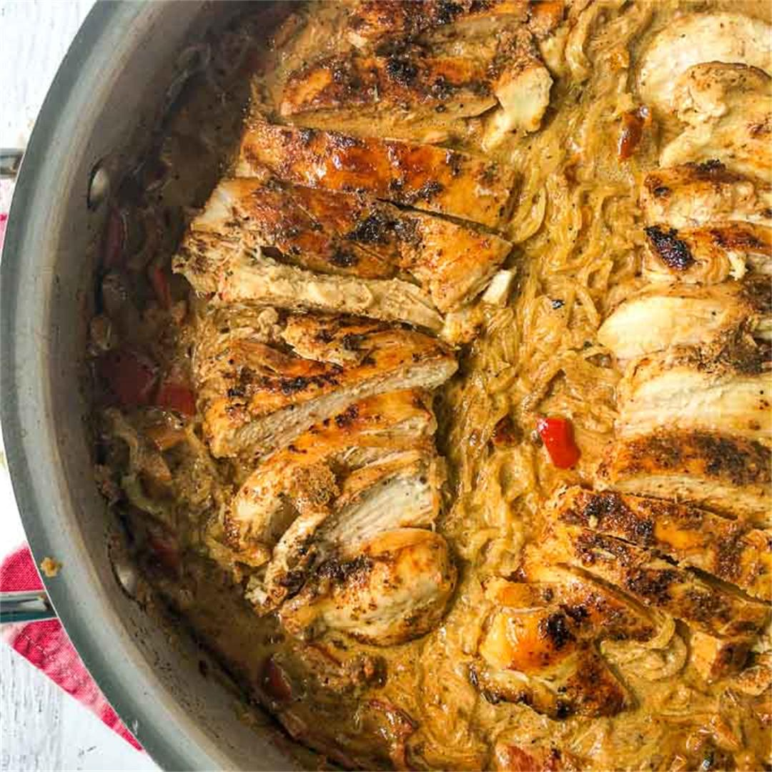 Low Carb Cajun Chicken Spaghetti Squash Skillet Dinner