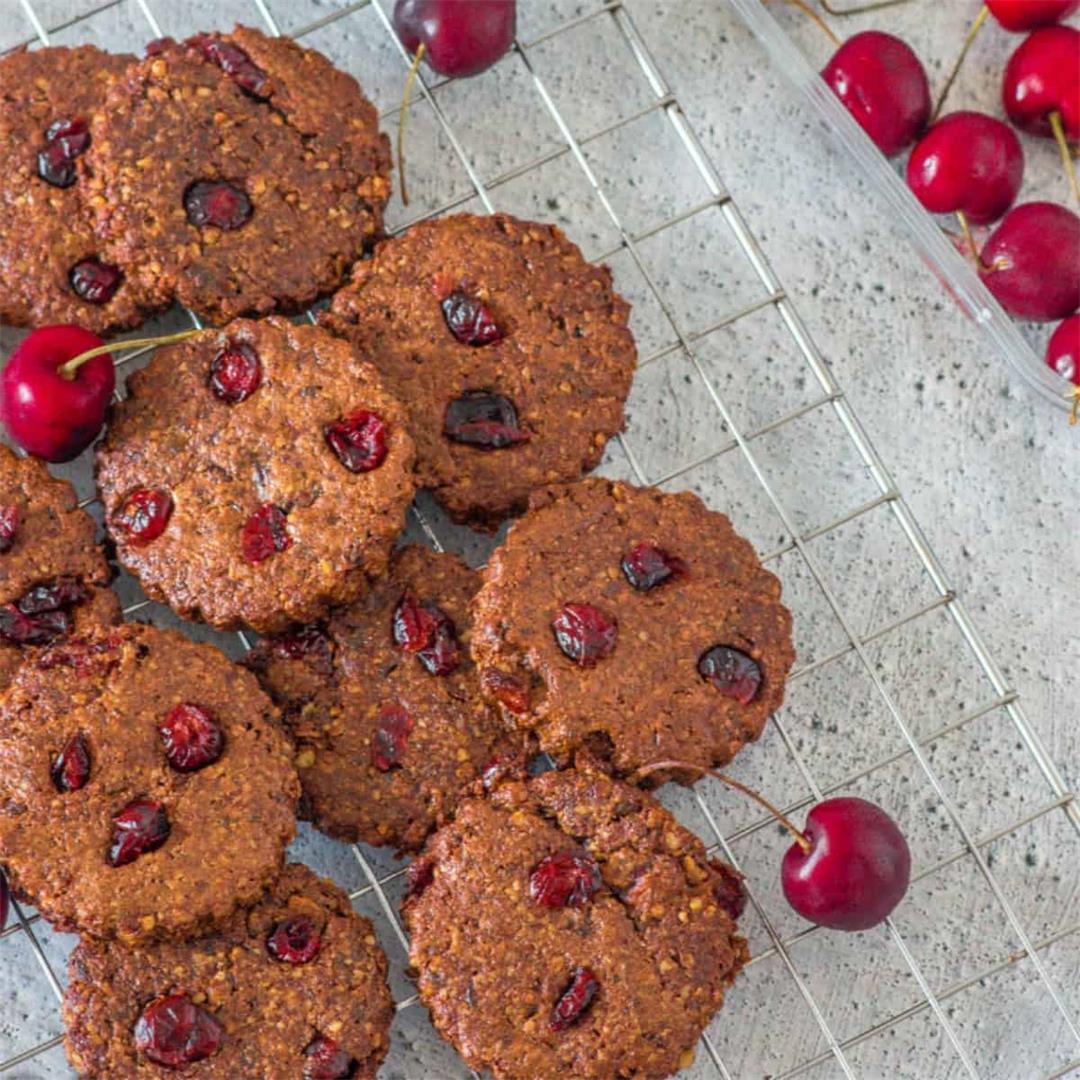 Vegan Chocolate Cherry Cookies (Gluten free, Paleo)