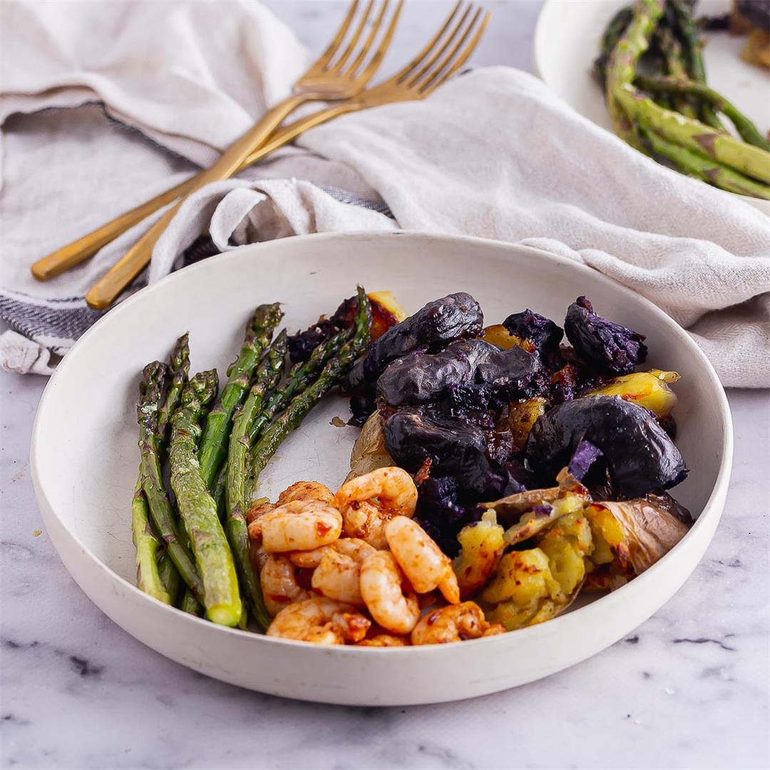 Harissa Prawns with Smashed Potatoes & Asparagus