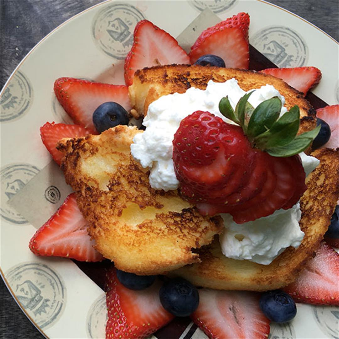 Broiled Angel Food Cake with Maple Whipped Cream