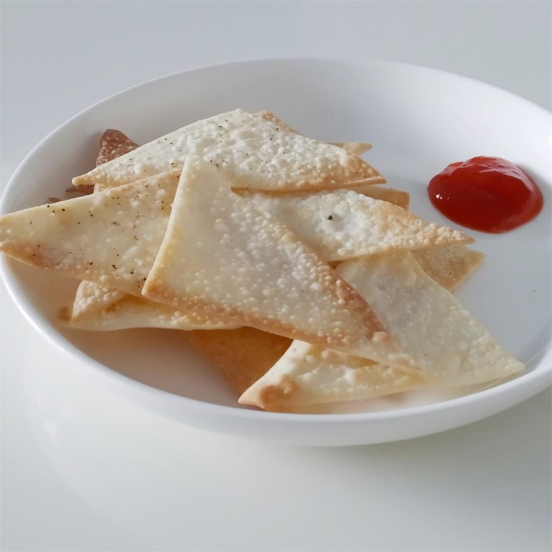 Crispy baked Wonton Chips