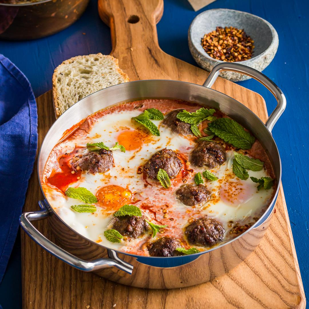 Easy shakshuka with Lamb Meatballs & Fig Salami
