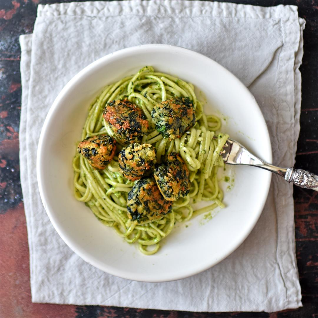 spinach, mozzarella and basil polpette