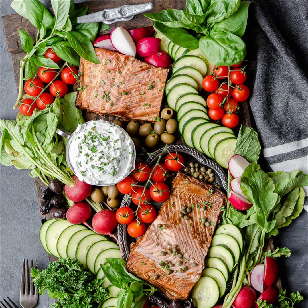 No Cook Smoked Salmon Grazing Board