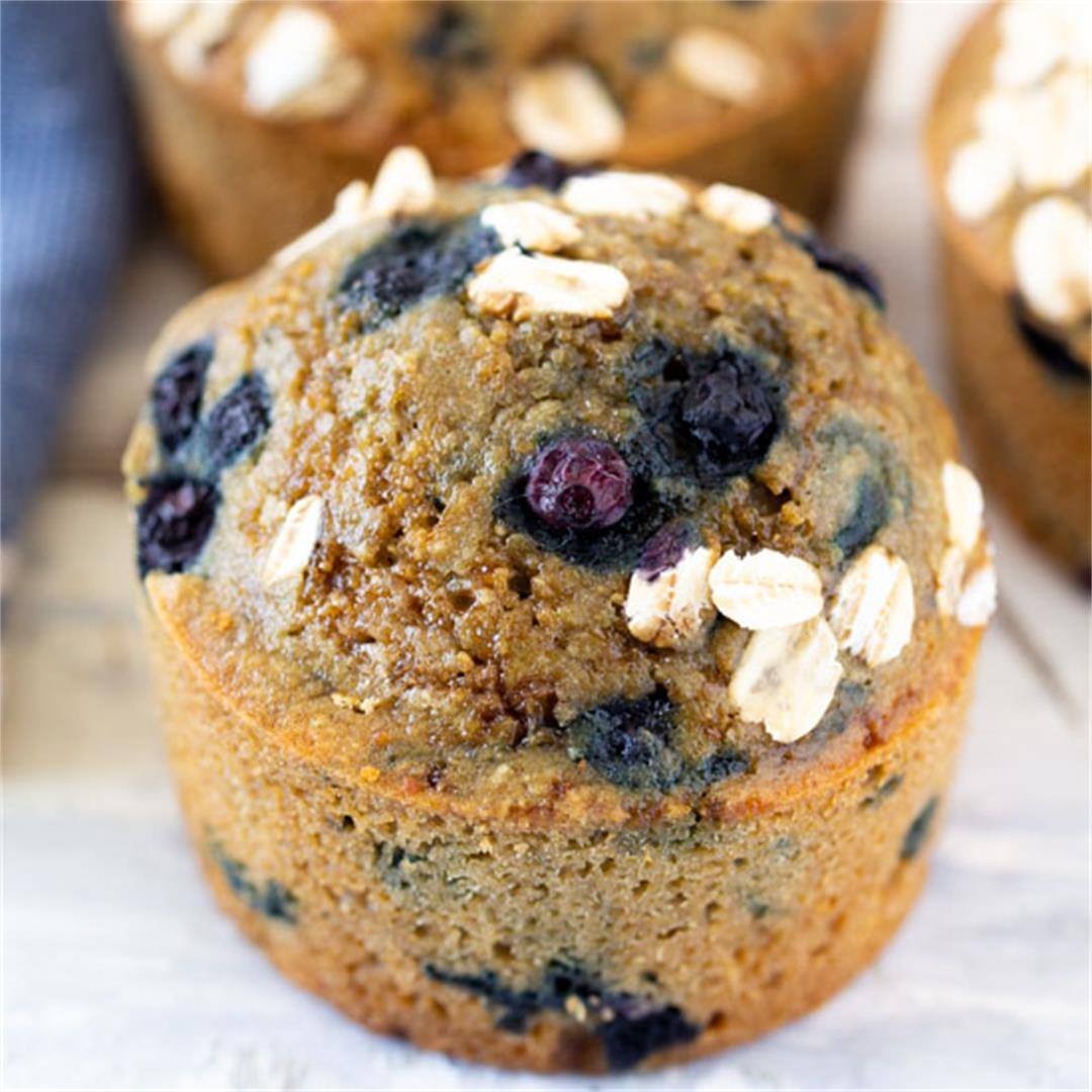 Healthy Oat Flour Blueberry Muffins