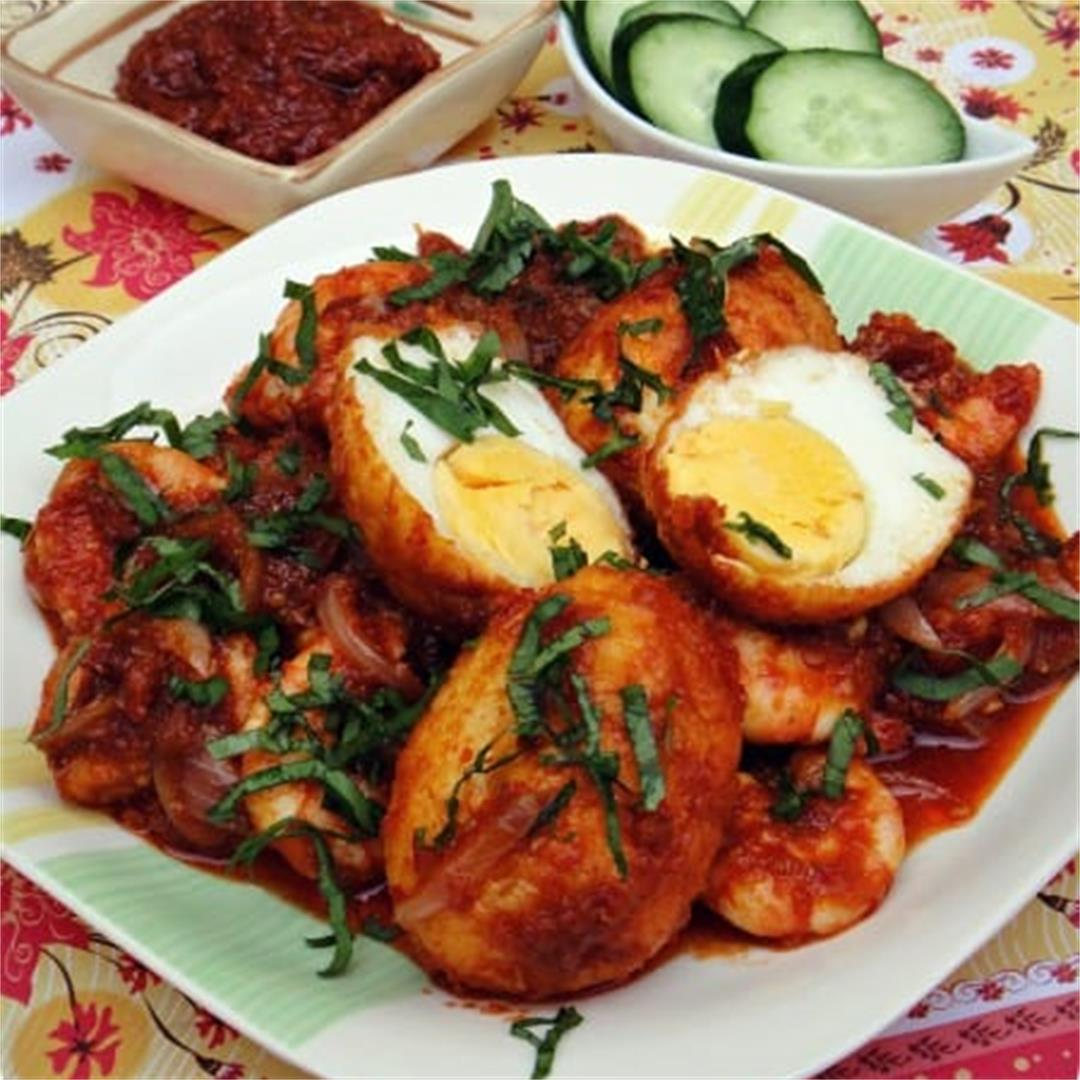 Sambal Egg and Prawns