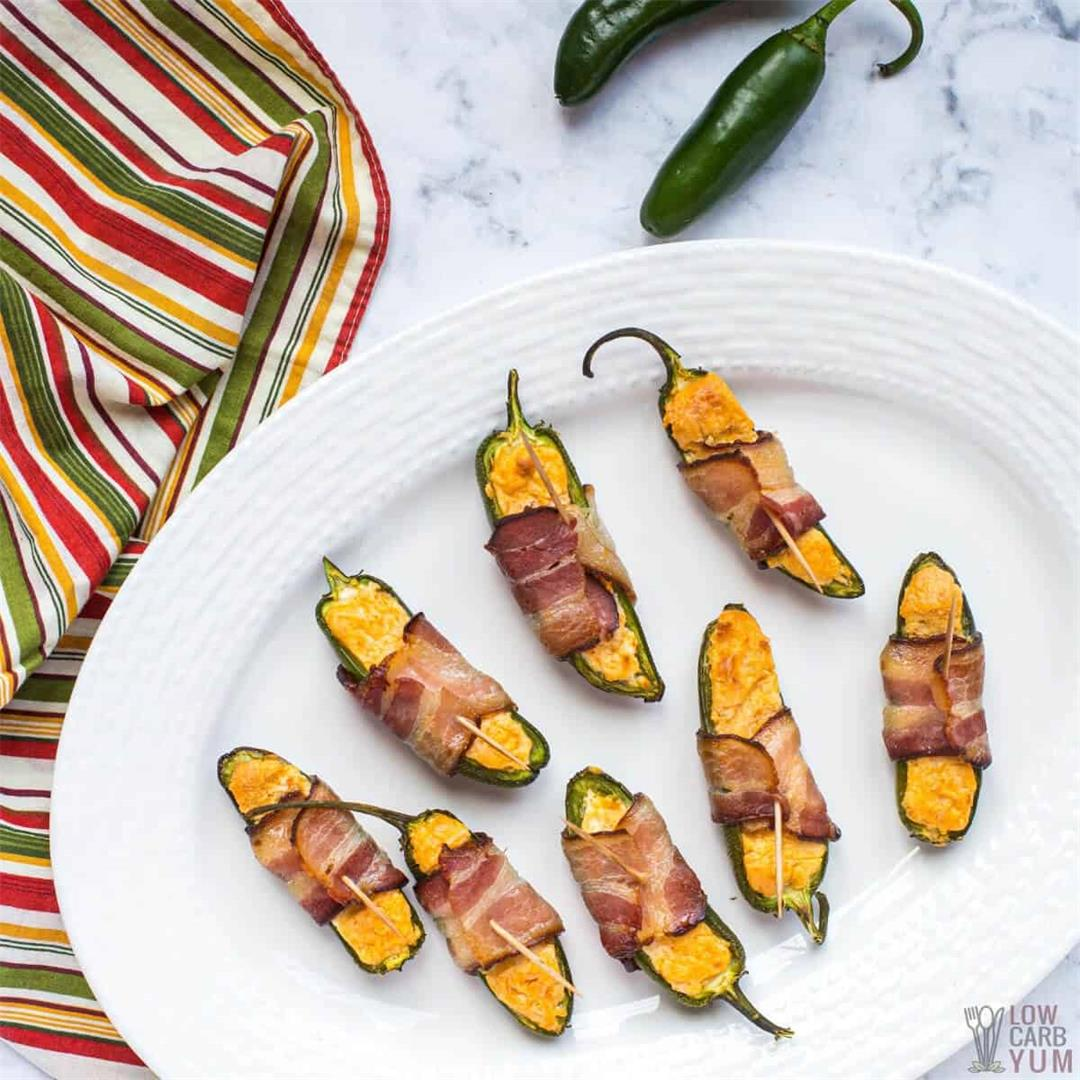 Keto Bacon Wrapped Air Fryer Jalapeño Poppers