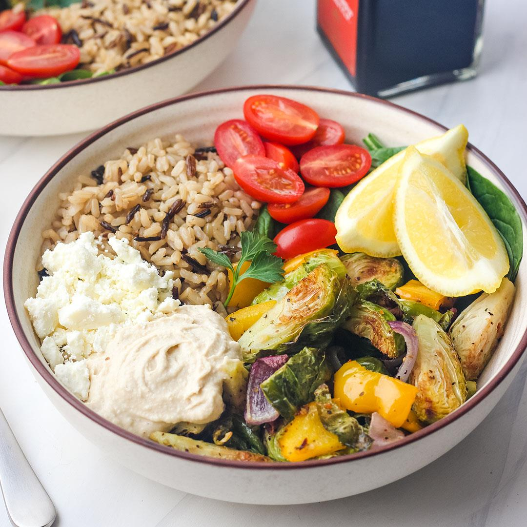 Roasted Vegetables and Hummus Bowls (Easy Dinner For Two)