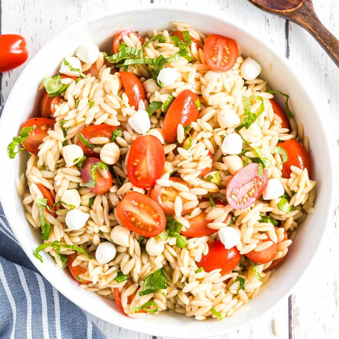 Caprese Orzo Salad (Basil Tomato Mozzarella)