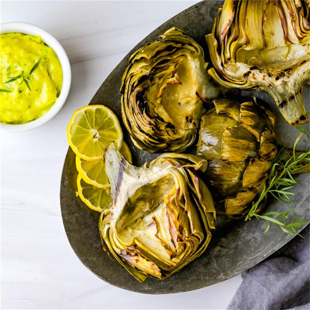 Grilled Smoked Artichokes with Lemon Tarragon Aioli