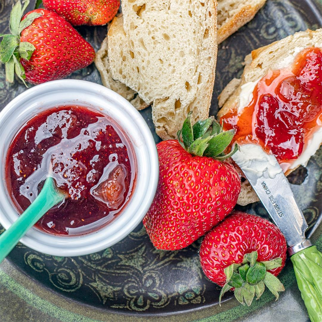 Rhubarb Strawberry Jam Recipe (no pectin)