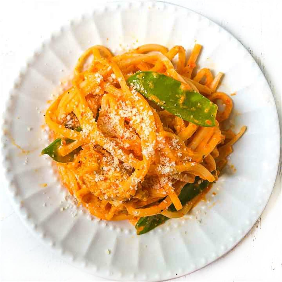 Low Carb Creamy Red Pepper Pasta with Chicken