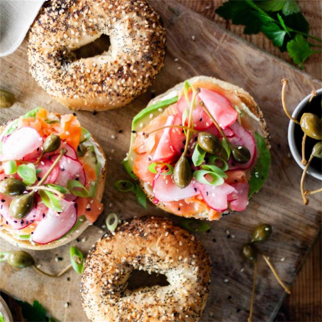 Everything Bagels with Smoked Trout, Pickled Radish and Wasabi