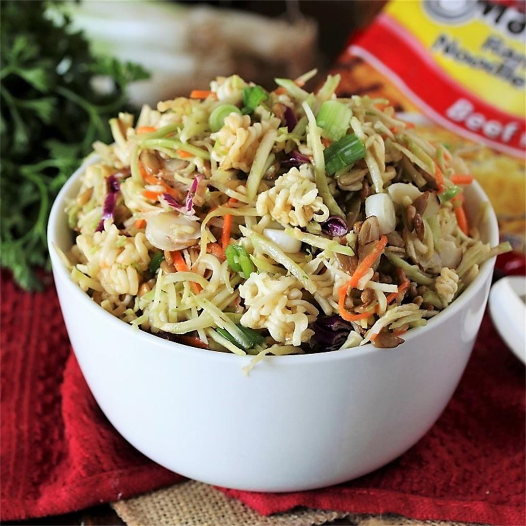 Asian Ramen Noodle Salad with Broccoli Slaw
