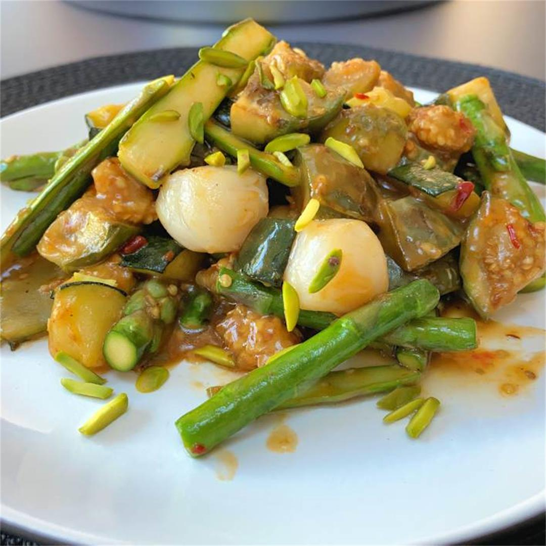 scallop and asparagus stir fry