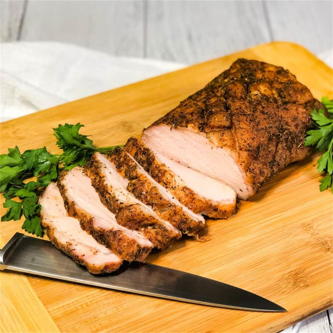 Smoked Pork Loin Roast with a Savory Rub