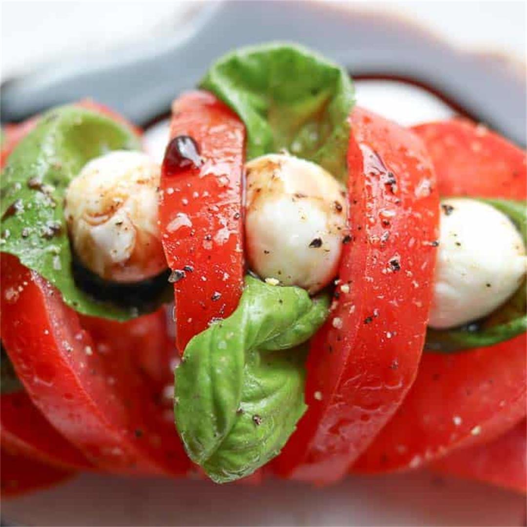 Easy Tomato Mozzarella Salad Hasselback Style