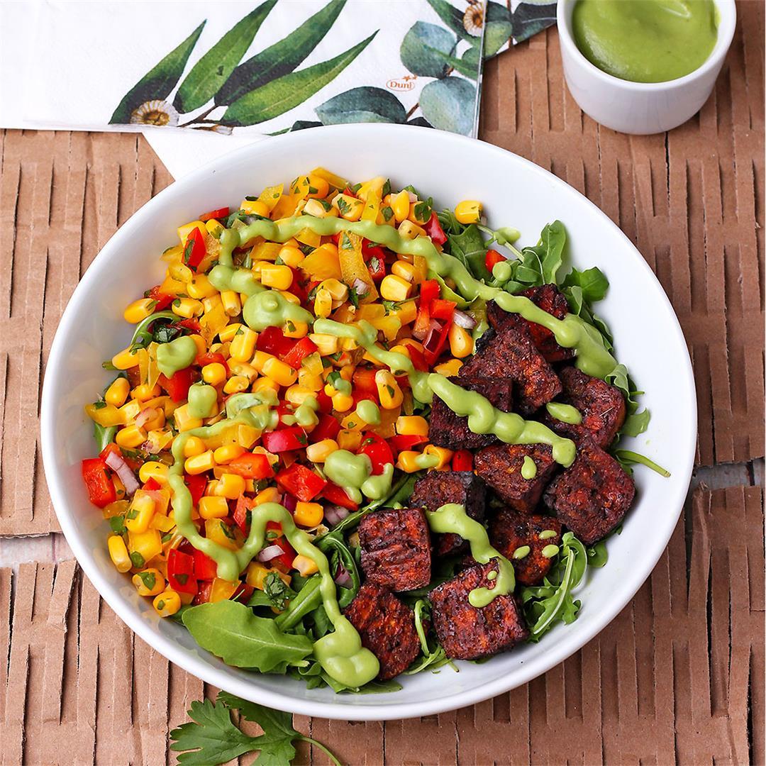 savory baked tofu bowls with sweet corn relish (vegan & oil-fre
