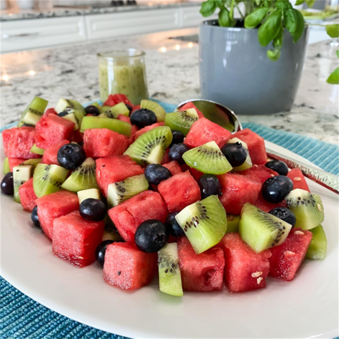 Watermelon and Berry Salad with Honey Basil Dressing