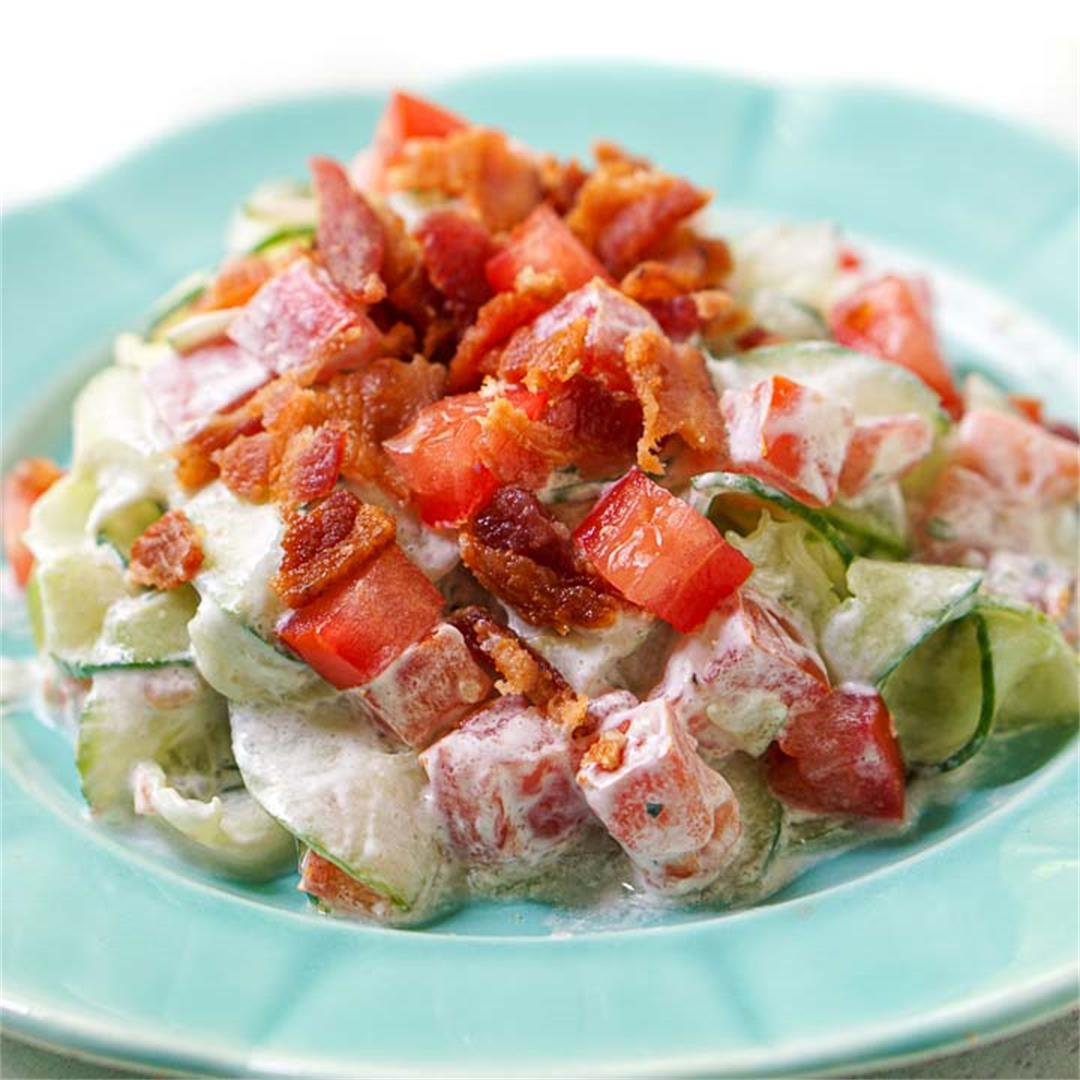 Creamy Cucumber Salad with Ranch, Tomatoes & Bacon