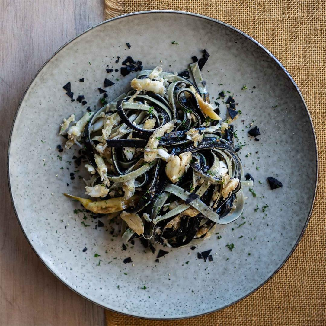 Squid Ink and Lemon Linguine with Whitebait
