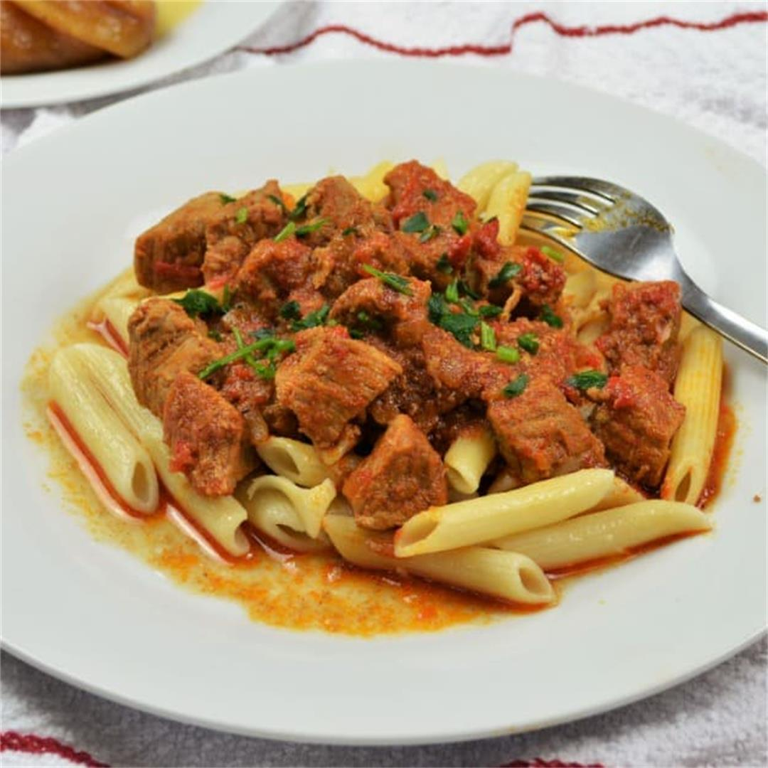 Simple Pork Tenderloin Stew Recipe-Served With Pasta