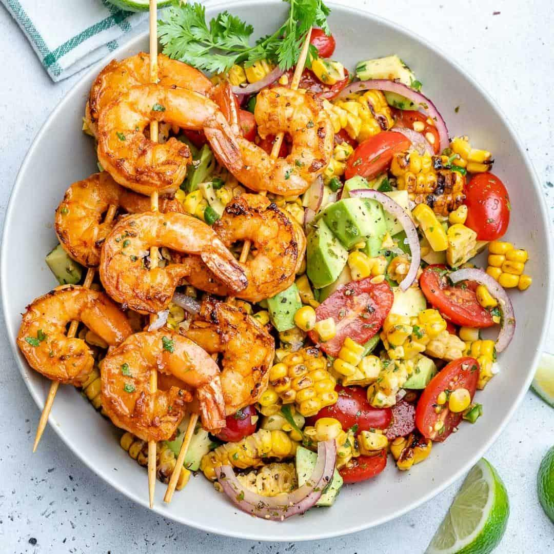 Avocado Corn Salad With Grilled Shrimp
