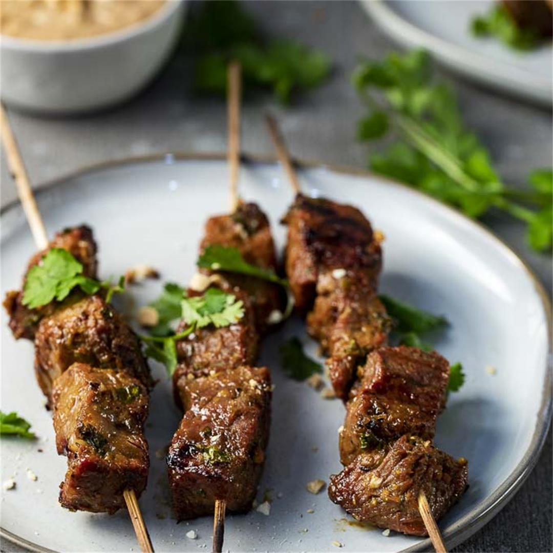Indonesian Beef Satay Skewers