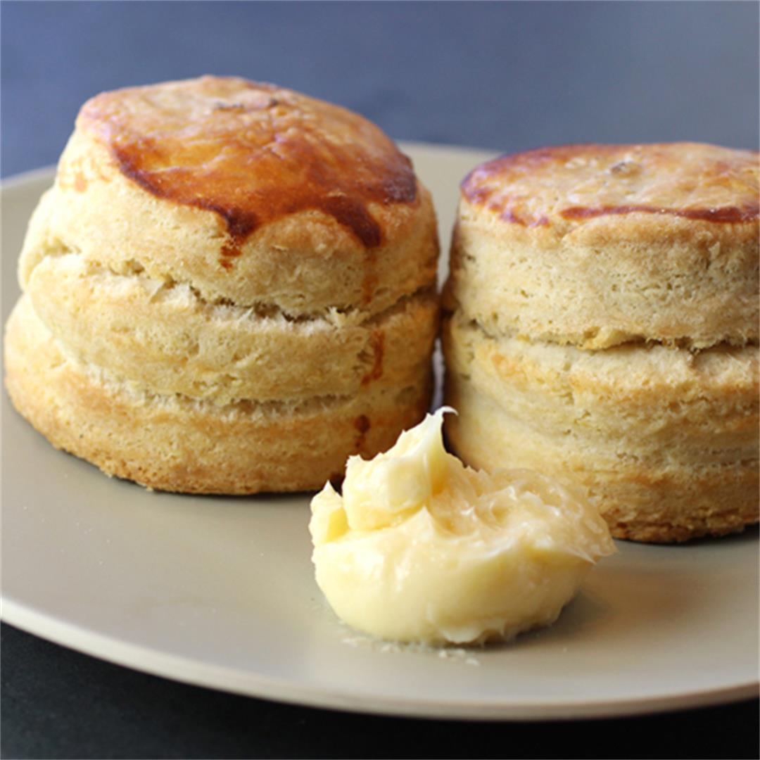 Mile-high buttermilk biscuits with honey butter