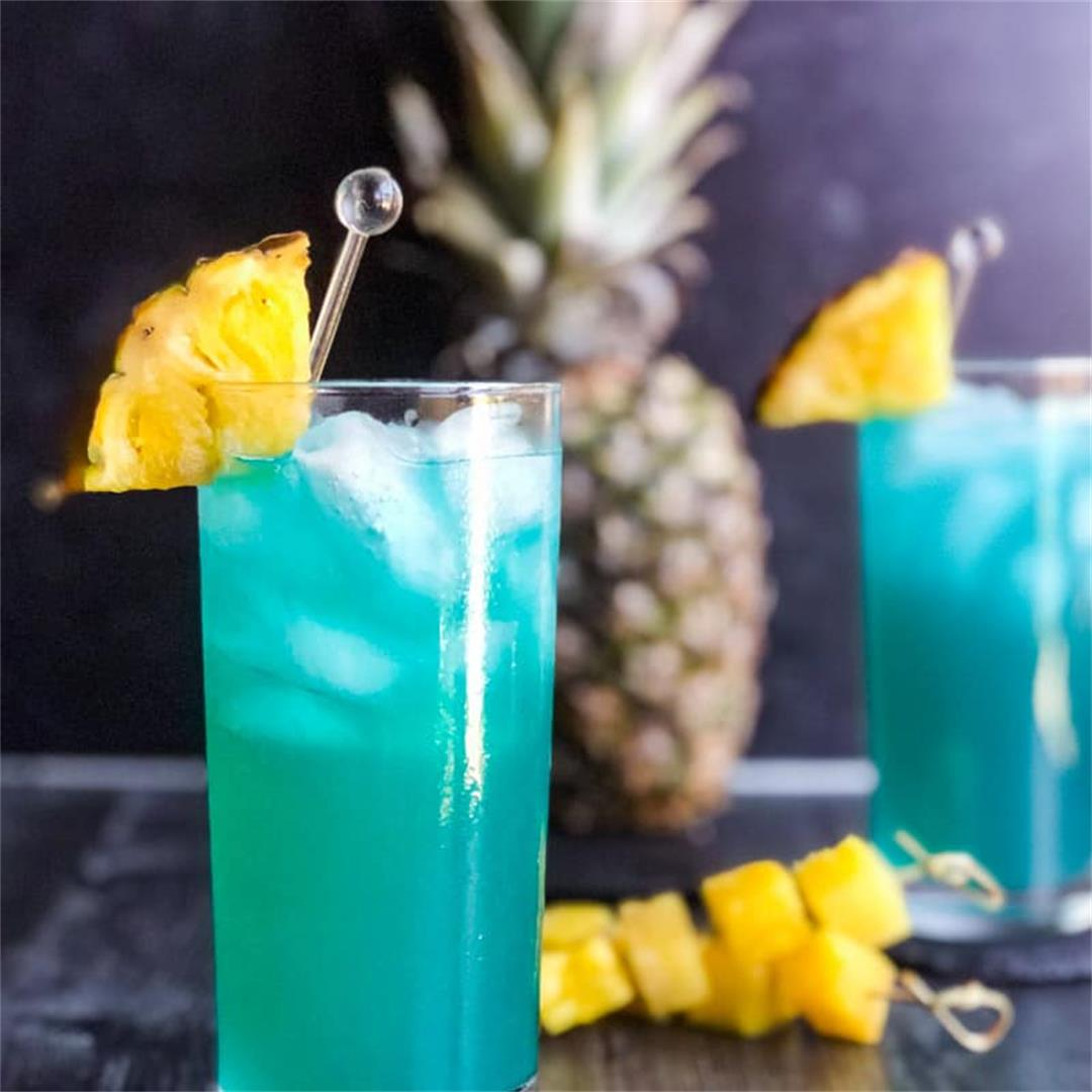 Blue Hawaiian Cocktail (or mocktail) Recipe