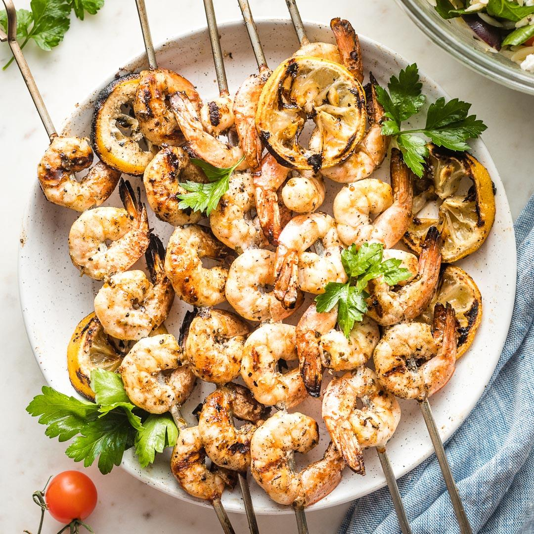 Greek Shrimp Skewers with Orzo Salad
