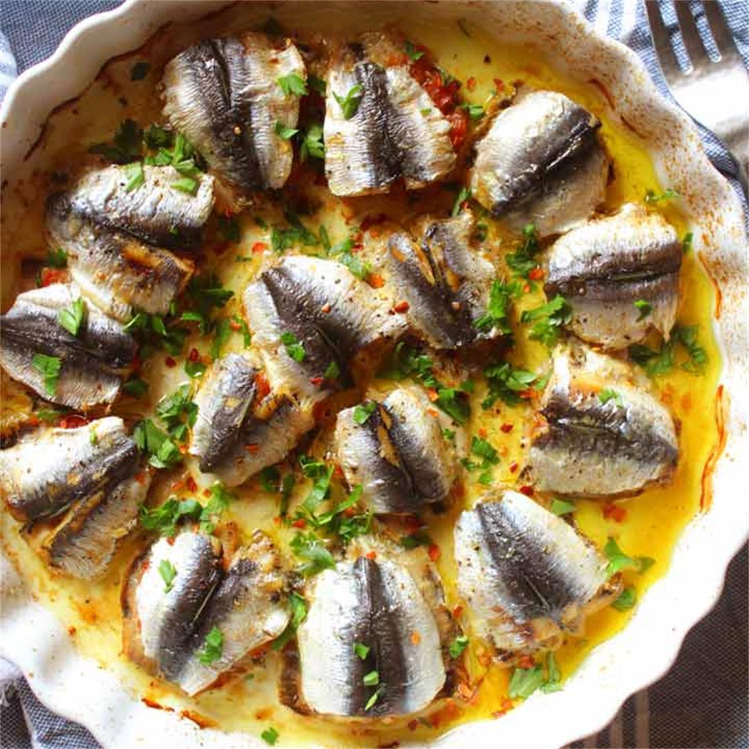 Mediterranean Baked Stuffed Sardines