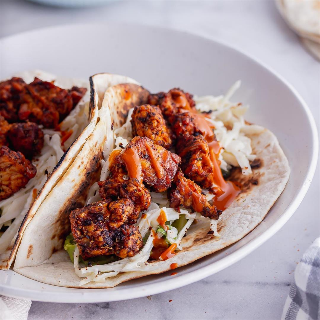 Tempeh Tacos with Quick Cabbage Slaw
