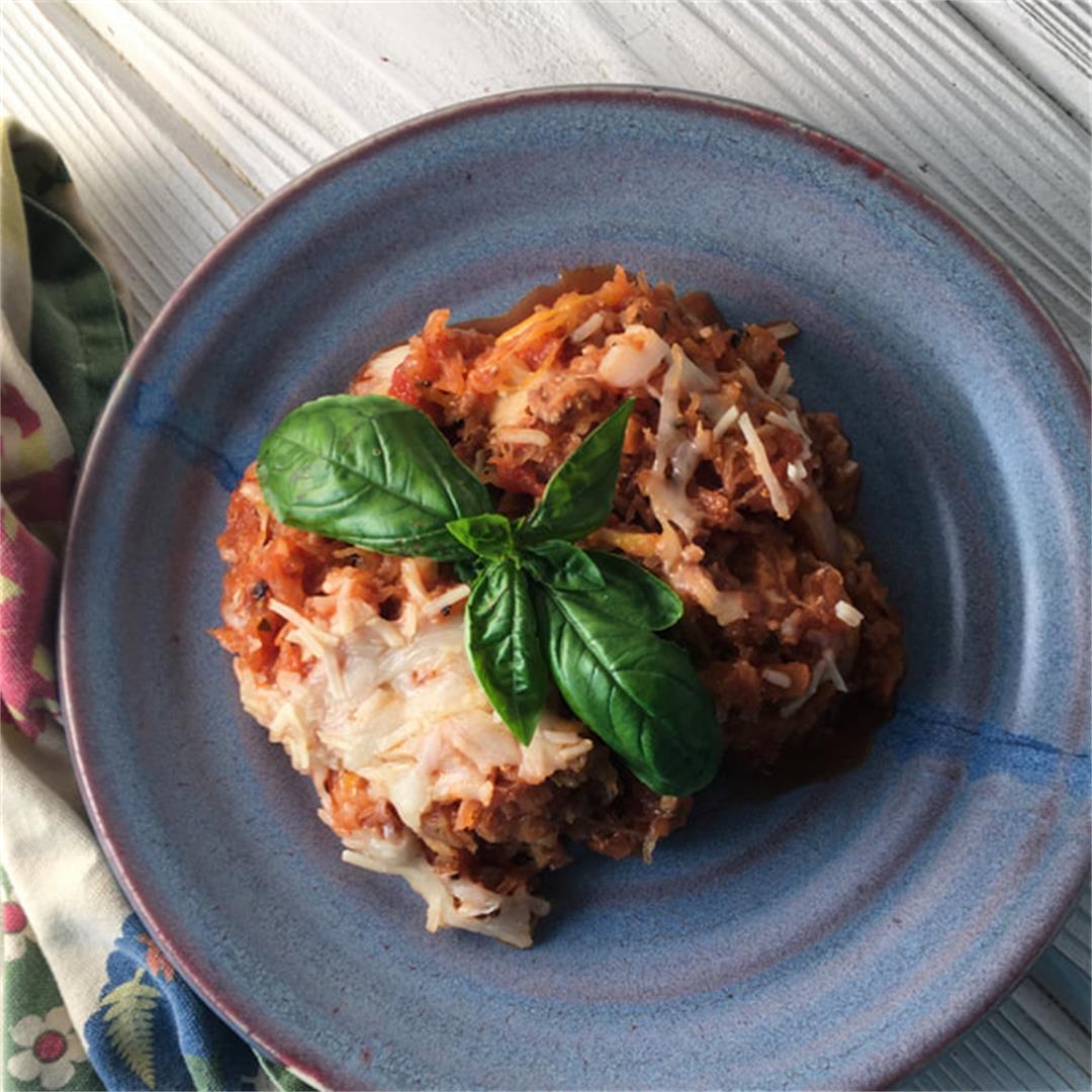 Low Carb Italian Spaghetti Squash and Sausage Bake