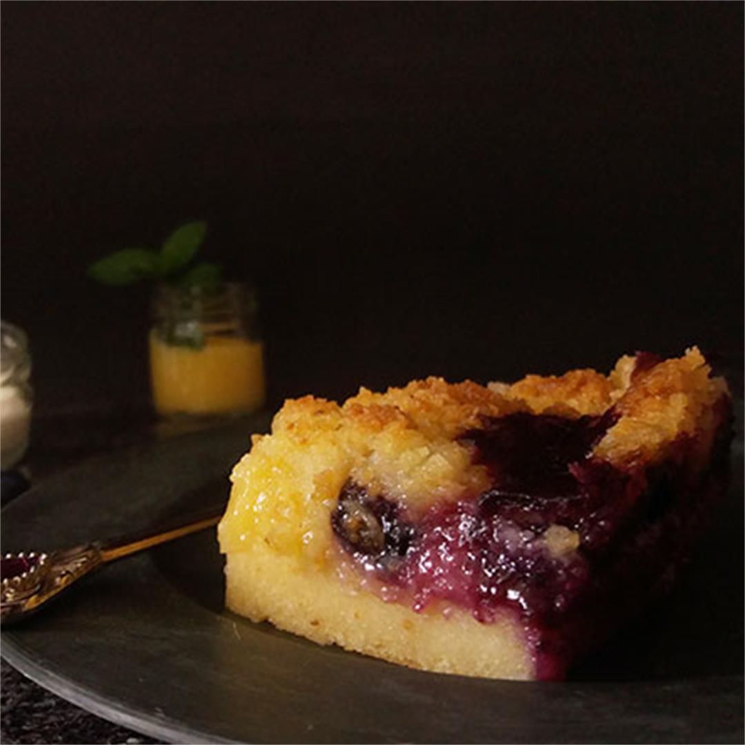 Lemon Curd Blueberries Crumb Cake