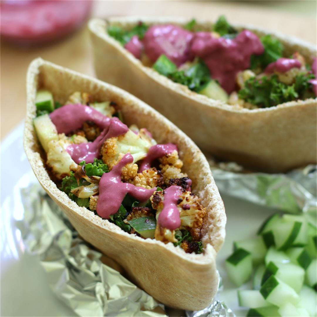 Cauliflower Shawarma with Blueberry Hummus